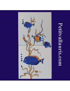 Carreaux décor Poissons Exotiques 15 x 30 cm