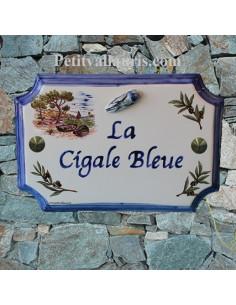 Plaque de Maison rectangle décor calanque+brins d'olives+cigale bleue en relief inscription personnalisée