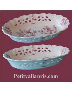 Corbeille ovale ajourée décor Tradition Vieux Moustiers rose