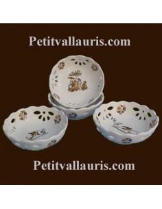 Coupelle dentellée ajourée décor Tradition Vieux Moustiers polychrome