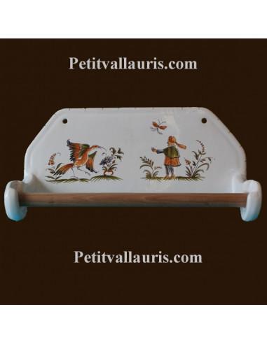 d rouleur de papier essuie tout mural d cor tradition vieux moustiers polychrome le petit. Black Bedroom Furniture Sets. Home Design Ideas