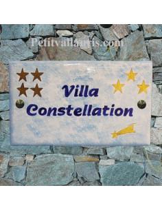 Plaque de maison en céramique décor étoiles et étoile filante