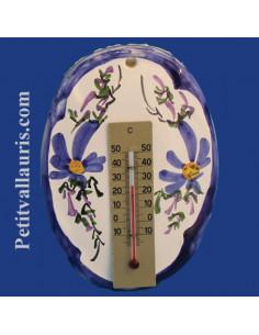 Thermomètre mural ovale en faïence décor Fleuri bleu