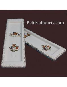 Repose-cuillère en faïence décor Tradition Vieux Moustiers polychrome