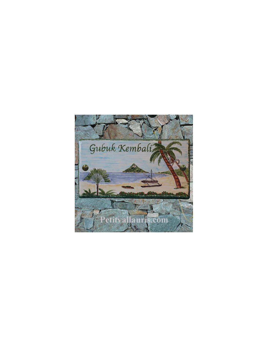 plaque nom de maison en c ramique d cor plage exotique le petit vallauris. Black Bedroom Furniture Sets. Home Design Ideas