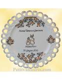 Assiette de Mariage modèle Tournesol inscription personnalisée noire