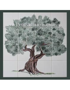 Fresque sur carrelage en faïence décor vieil olivier