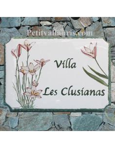 Plaque pour maison émaillée de style décor tuylipes clusianas