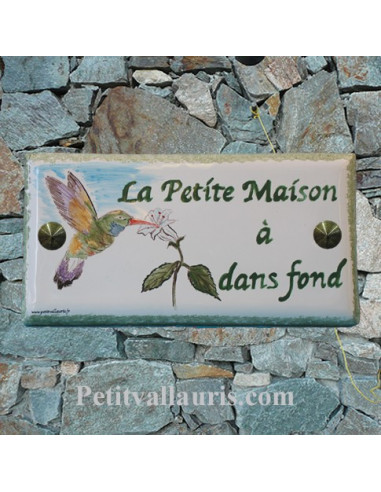 plaque nom de maison faience maill e inscription personnalis e d cor colibri le petit vallauris. Black Bedroom Furniture Sets. Home Design Ideas
