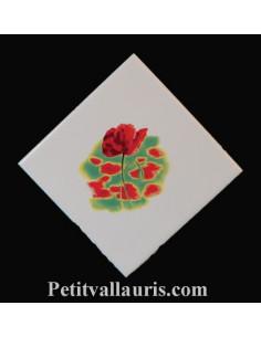 Carreau décor coquelicot 10 x 10 cm pose diagonale