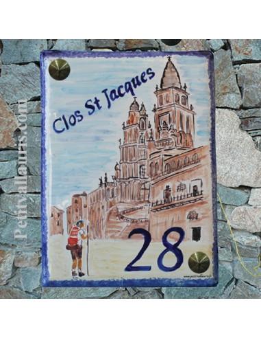 Plaque de maison personnalisée décor cathédrale saint jacques de compostelle pose verticale