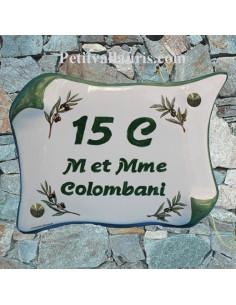 Plaque pour Maison parchemin déco brins d'olivier inscription personnalisée verte