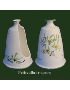 Porte-support balayette à poser en céramique blanche décor Fleuri vert