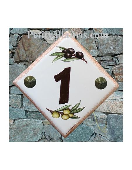 Numéro de maison décor brins d'olives vertes et noires pose diagonale bord ocre