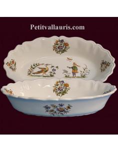 Corbeille ovale décor Tradition Vieux Moustiers polychrome