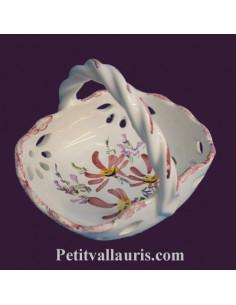 Panier coupelle ajourée de style décor fleuri rose