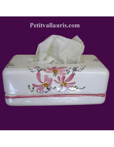 boite mouchoir papier jetables en c ramique blanche et motits fleurs roses. Black Bedroom Furniture Sets. Home Design Ideas
