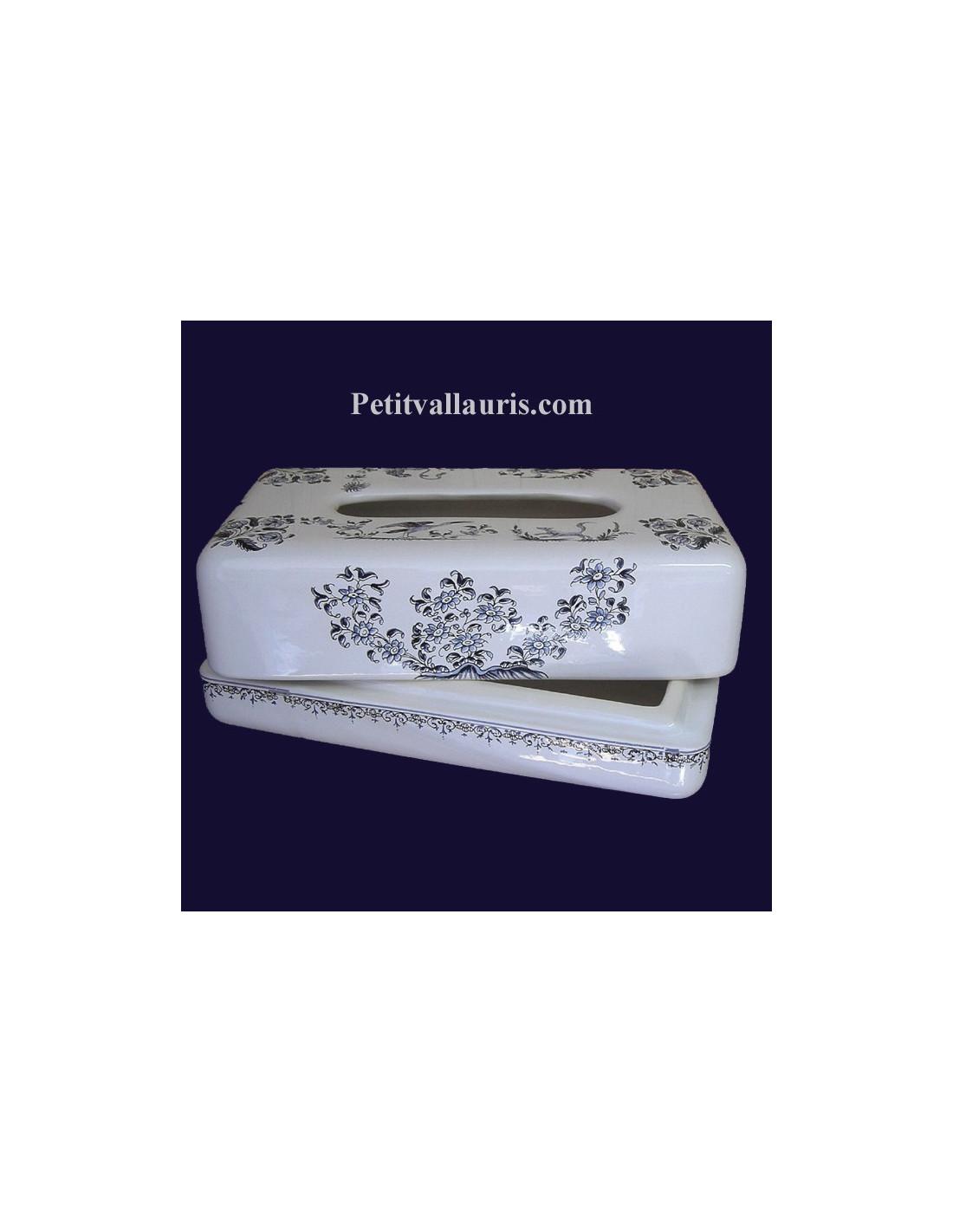 bo te mouchoirs papier d cor tradition vieux moustiers bleu le petit vallauris. Black Bedroom Furniture Sets. Home Design Ideas
