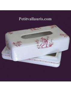 Boîte à mouchoirs papier décor Tradition Vieux Moustiers rose