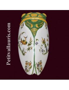 Cigale faïence céramique décor Tradition Vieux Moustiers polychrome (T.4)