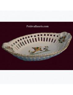 Corbeille ovale dentelée décorative décor Tradition Vieux Moustiers polychrome