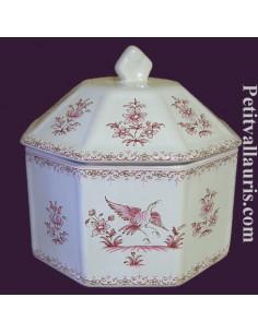 Boîte octogonale décor Tradition Vieux Moustiers rose