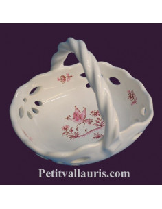 Panier coupelle ajouré décor Tradition Vieux Moustiers rose
