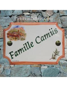 Plaque de Maison rectangle décor village méditérranéen inscription personnalisée verte bord ocre
