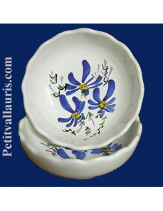 Coupelle dentellée décor Fleuri bleu