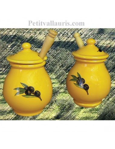pot moutarde pour la table en faience blanche et au motif olives noires et de couleur jaune. Black Bedroom Furniture Sets. Home Design Ideas