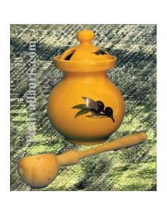 Pot à Olives en faïence avec cuillère en bois