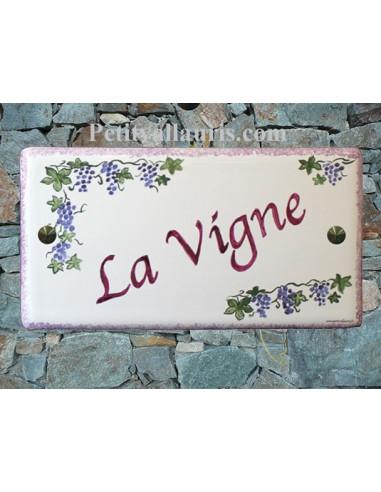 Plaque de Maison rectangle décor personnalisé treille de raisins inscription parme