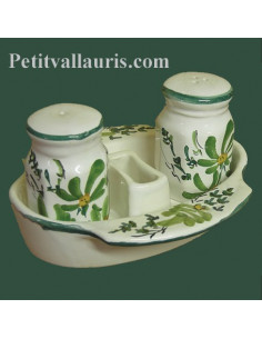 Ensemble salière et poivrière en faïence décor Fleur verte