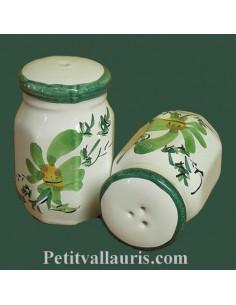 Salière et poivrière décor Fleuri vert