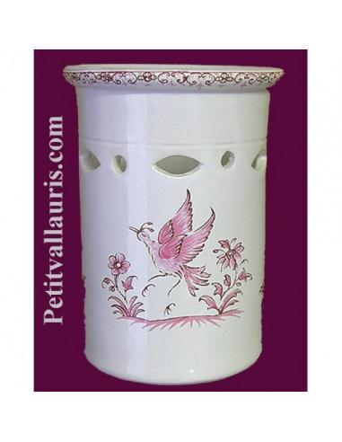 Porte range ustensile ajouree de cuisine en faience reproduction vieux moustiers rose - Porte ustensile cuisine ...