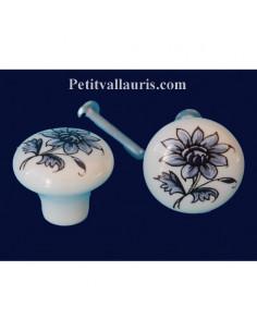 Bouton de tiroir meuble décor Tradition Vieux Moustiers bleu (diamètre 30 mm)