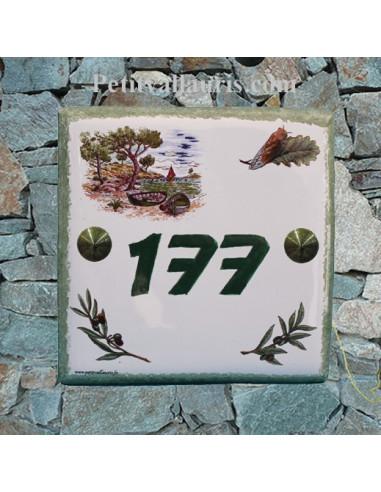 Numéro de Maison pose horizontale décor calanque chiffre vert