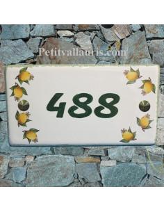Plaque pour Maison rectangle décor citrons inscription personnalisée bord verte