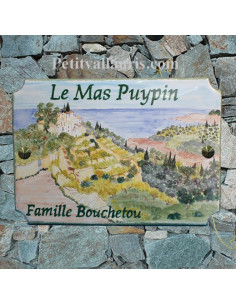 Plaque pour maison en céramique décor paysage arrière pays menton