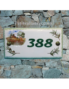 Plaque de maison faience émaillée décor cabanon provençale et oliviers inscription personnalisée verte