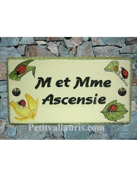Plaque de Maison en céramique émaillée décor artisanal coccinelles + inscription personnalisée