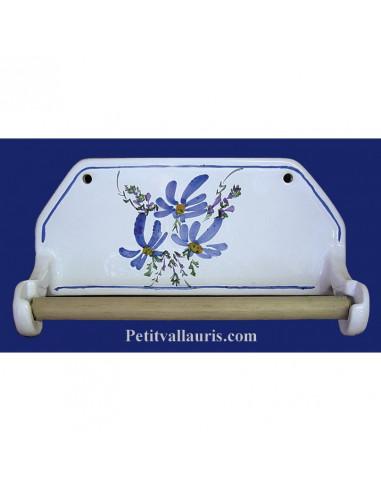 d rouleur de papier essuie tout mural d cor fleuri bleu le petit vallauris. Black Bedroom Furniture Sets. Home Design Ideas