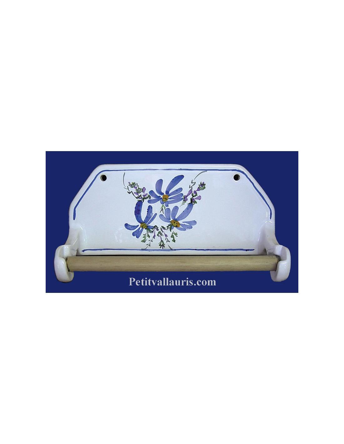 D rouleur de papier essuie tout mural d cor fleuri bleu for Devidoir essuie tout mural