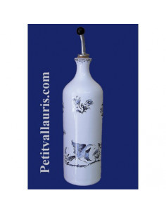 Huilier bouteille en faïence décor Tradition Vieux Moustiers bleu
