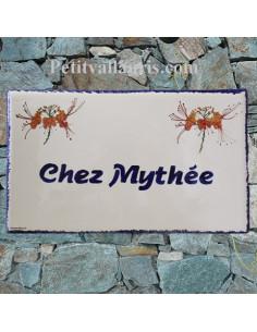 Plaque de maison en céramique émaillée décor Les poiriers