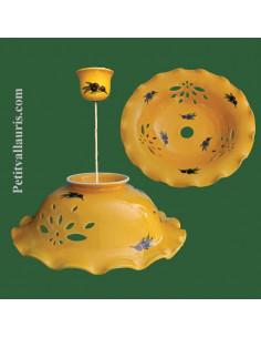Suspension en céramique ajourée fond jaune décor Lavande D35