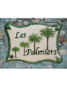 Plaque de maison en céramique décor personnalisé Les Palmiers