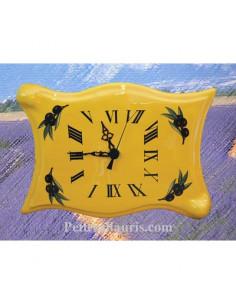 Horloge parchemin en faïence grand modèle fond jaune et brin d'olives