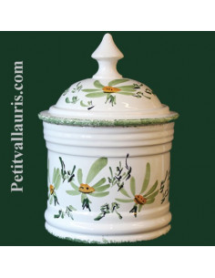 Pot de Salle de bain Taille 3 décor Fleuri vert