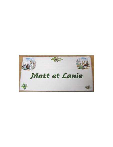 Plaque de Maison rectangle décor montagne marmotte et chamois + personnalisation